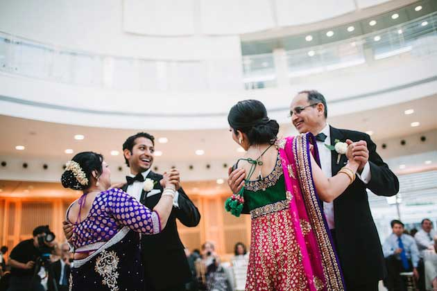 Mitra & Vivek dance with their parents