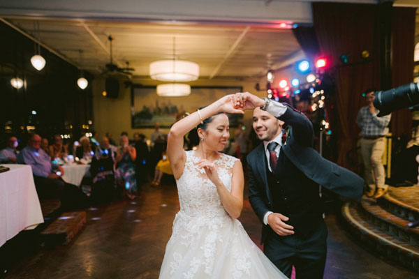 Wedding couple nails their fancy swing dance