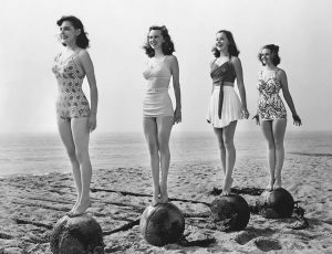 50s bathing beauties demonstrate good posture