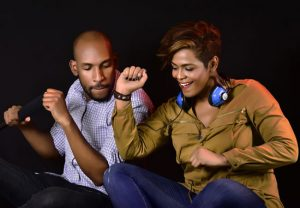 Couple grooving to dance music